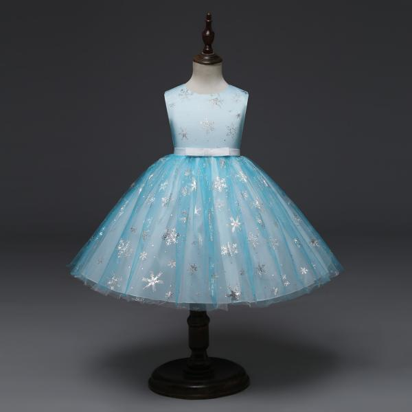 Snowflake Flower Girl Dress Princess Sleeveless Wedding Formal Party Tutu Ball Gown Children Clothes baby blue
