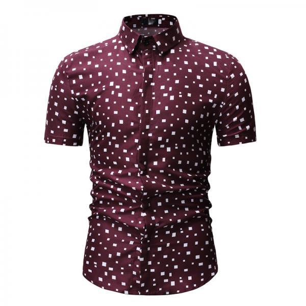 Men Floral Printed Shirt Summer Beach Short Sleeve Hawaiian Holiday Vacation Casual Slim Fit Shirt 19#