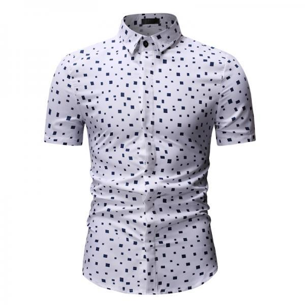 Men Floral Printed Shirt Summer Beach Short Sleeve Hawaiian Holiday Vacation Casual Slim Fit Shirt 20#