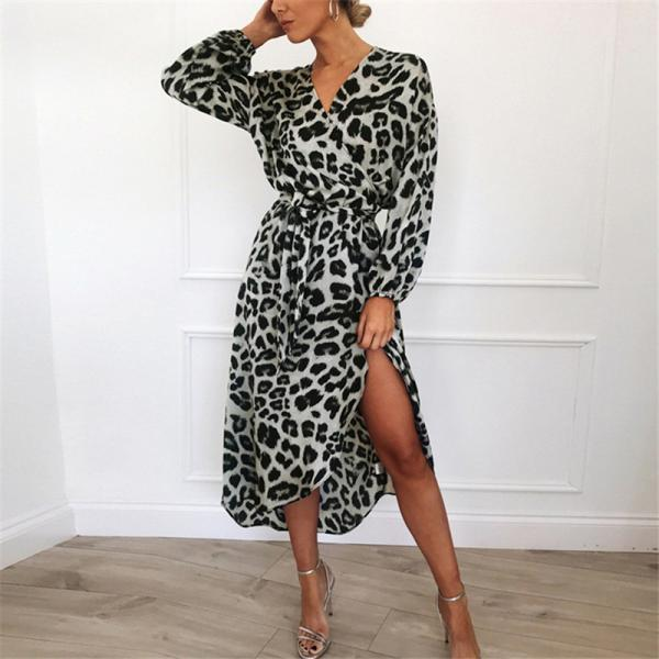 Women Leopard Dress V-Neck Long Sleeve Casual Belted Asymmetrical Long Maxi Split Party Dress 3#