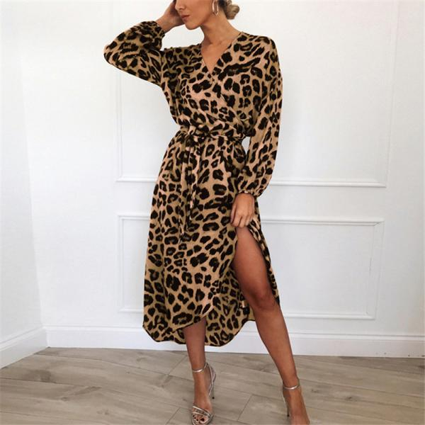 Women Leopard Dress V-Neck Long Sleeve Casual Belted Asymmetrical Long Maxi Split Party Dress 4#