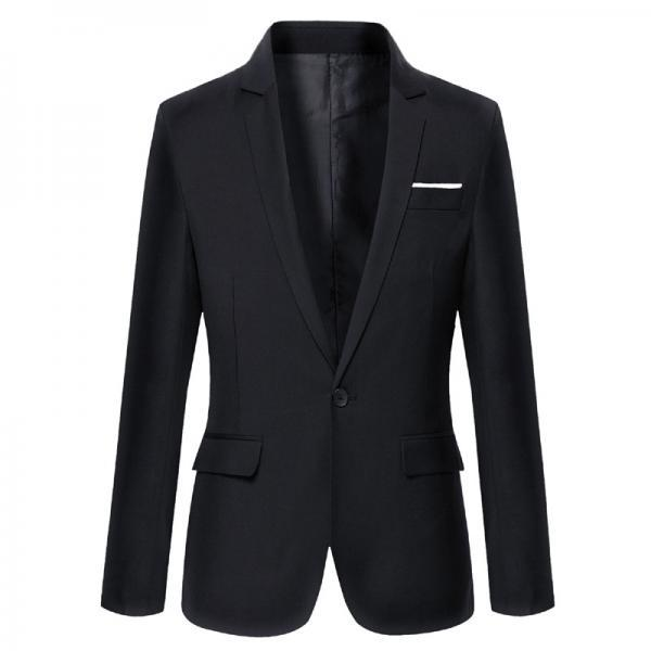 Men Blazer Coat Long Sleeve One Button Casual Business Slim Fit Suit Jacket black