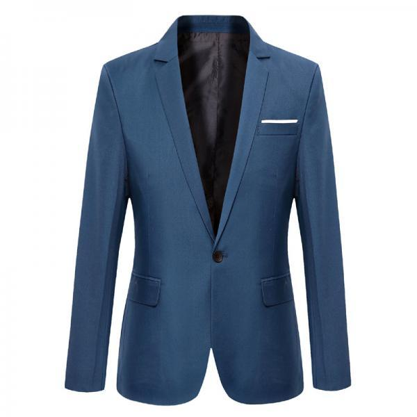 Men Blazer Coat Long Sleeve One Button Casual Business Slim Fit Suit Jacket blue