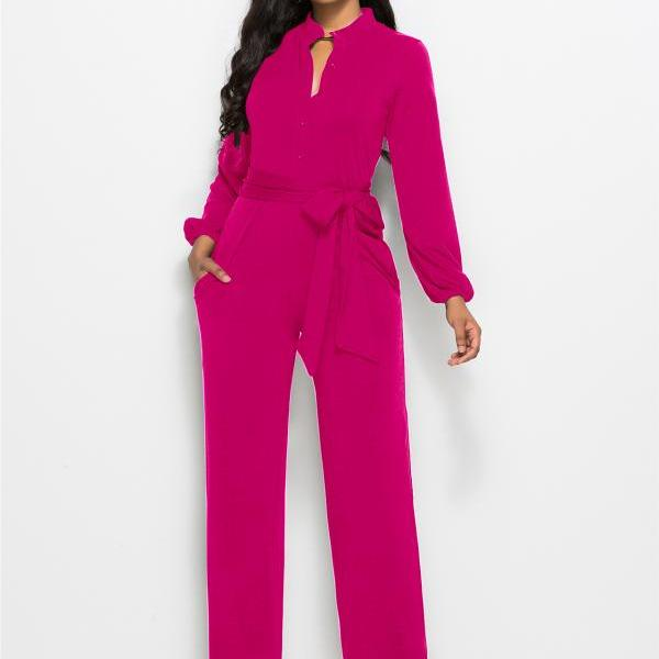 Women Wide Leg Jumpsuit Buttons Long Sleeve Streetwear Casual Loose Romper Overalls hot pink