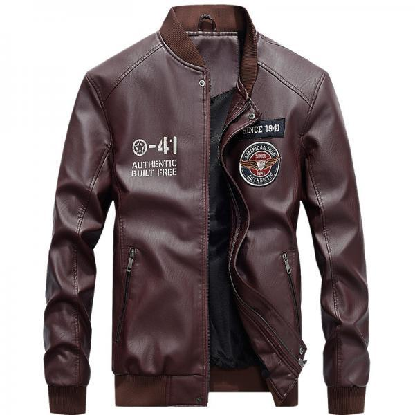 Men Faux PU Leather Coat Spring Autumn Stand Collar Long Sleeve Slim Fit Motorcycle Biker Jacket wine red