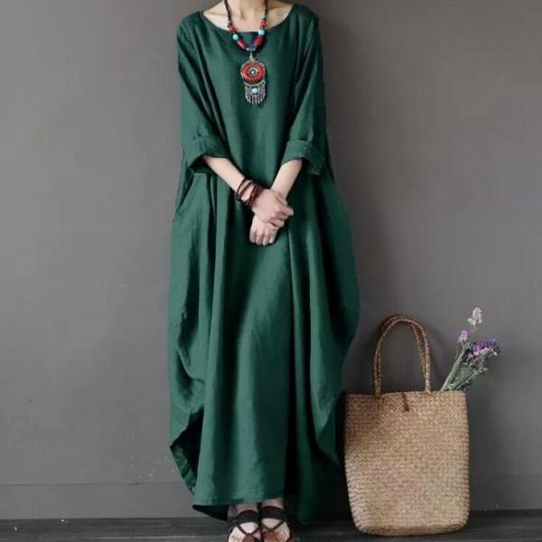 Women Maxi Dress 3/4 Sleeve Loose Linen Casual Plus Size Party Beach Long Dress green