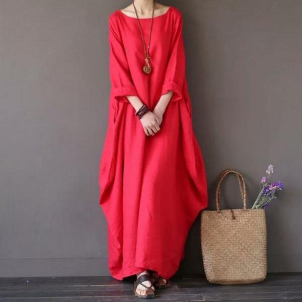 Women Maxi Dress 3/4 Sleeve Loose Linen Casual Plus Size Party Beach Long Dress red