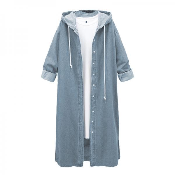 Women Denim Trench Coat Hooded Casual Long Sleeve Plus Size Jacket Outerwear light blue