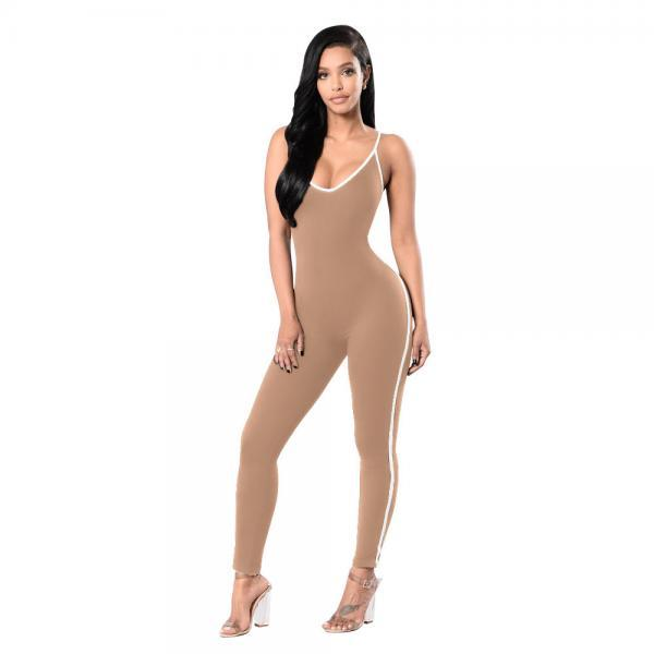 Women Jumpsuit Spaghetti Strap Sleeveless Fitness Workout Bodycon Slim Bodysuit Rompers Overalls apricot