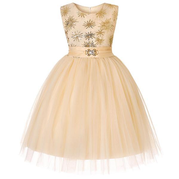 Sequined Flower Girl Dress Sleeveless Formal Birthday Perform Party Gown Children Clothes champagne