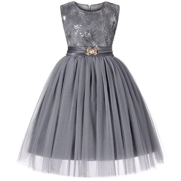 Sequined Flower Girl Dress Sleeveless Formal Birthday Perform Party Gown Children Clothes gray