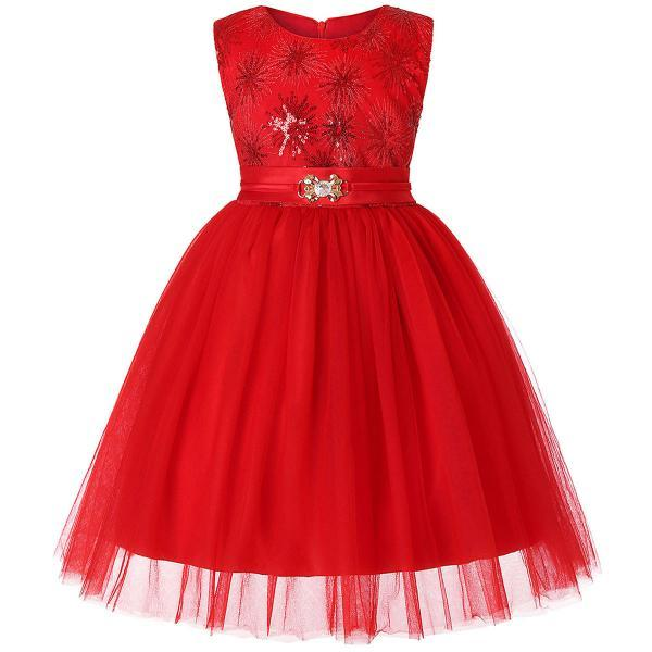 Sequined Flower Girl Dress Sleeveless Formal Birthday Perform Party Gown Children Clothes red
