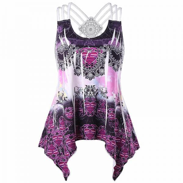 Women Asymmetrical Tank Top Printed Lace Patchwork Casual Summer Sleeveless Vest Top purple
