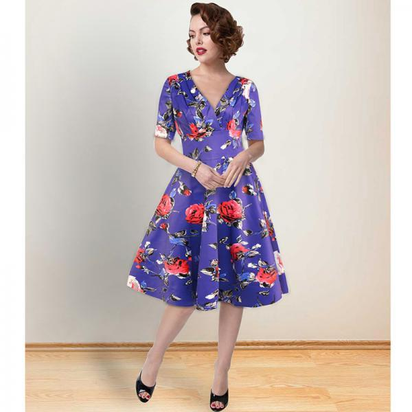 Women Floral Printed Dress V Neck Short Sleeve Vintage 50s 60s Casual A Line Formal Party Dress 1365-blue
