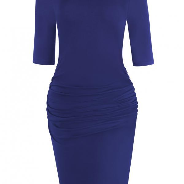 Women Pencil Dress Half Sleeve Casual Pleated Slim Bodycon Work Office Party Dress royal blue