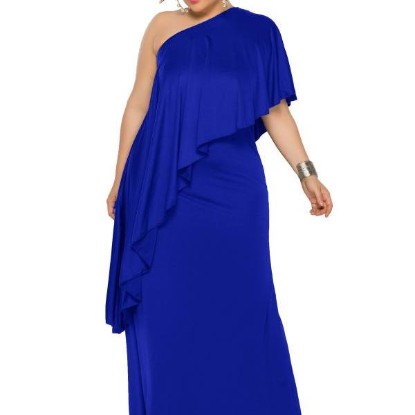 Women Maxi Dress One Shoulder Asymmetrical Long Party Prom Evening Gowns royal blue