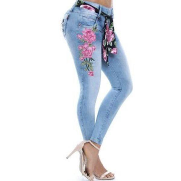 Women Denim Pants Embroidery Floral High Waist Plus Size Skinny Casual Pencil Jeans Trousers jeans blue