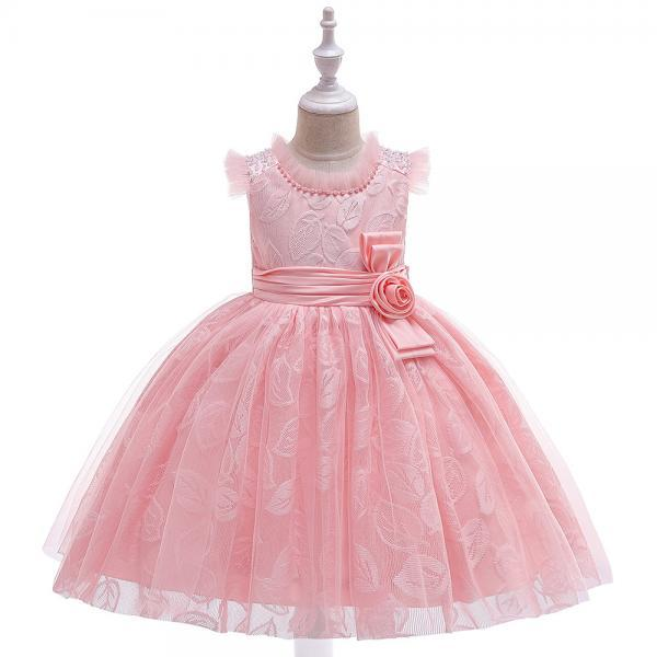 Floral Flower Girl Dress Princess Wedding Formal Birthday Party Tutu Gown Children Clothes salmon