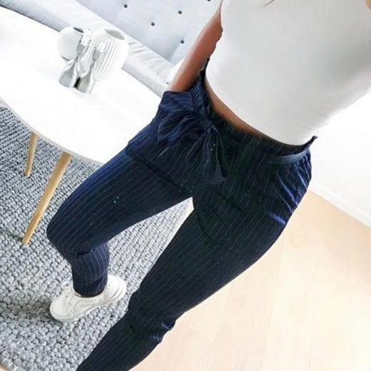 Women Harem Pants Bow Tie Belted High Waist Slim Casual Streetwear Capris Trousers navy blue striped