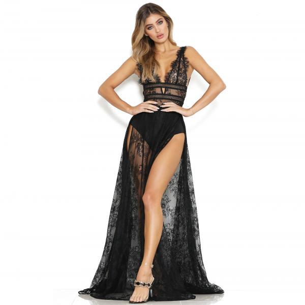 Women Transparent Sheer Lace Maxi Dress Sexy Deep V Neck High Split Bodycon Long Club Party Dress black
