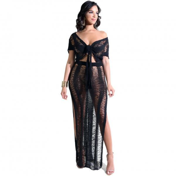 Women Knitted Two Piece Set Hollow Out V Neck Short Sleeve Crop Top+High Slit Maxi Skirt Summer Beach Club Party Outfit black