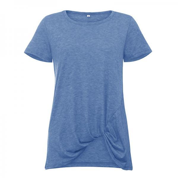 Women Short Sleeve T Shirt O Neck Summer Tie Asymmetrical Casual Loose Tee Tops blue