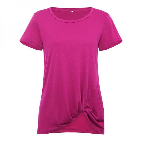 Women Short Sleeve T Shirt O Neck Summer Tie Asymmetrical Casual Loose Tee Tops fuchsia