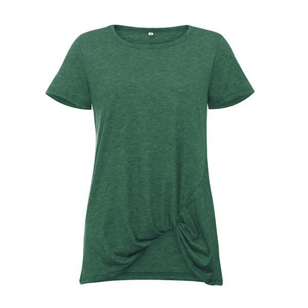 Women Short Sleeve T Shirt O Neck Summer Tie Asymmetrical Casual Loose Tee Tops green