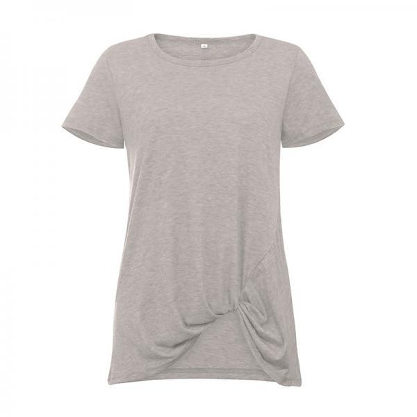 Women Short Sleeve T Shirt O Neck Summer Tie Asymmetrical Casual Loose Tee Tops light gray