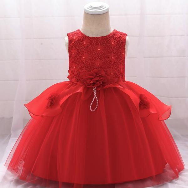 Embroidery Flower Girl Dress Newborn Tutu Floral Baptism Birthday Party Gown Kids Children Clothes red