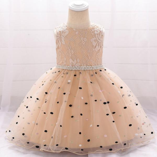 Polka Dot Flower Girl Dress Newborn Wedding Baptism Christening Birthday Party Gown Kids Children Clothes champagne