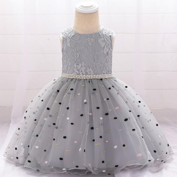 Polka Dot Flower Girl Dress Newborn Wedding Baptism Christening Birthday Party Gown Kids Children Clothes gray
