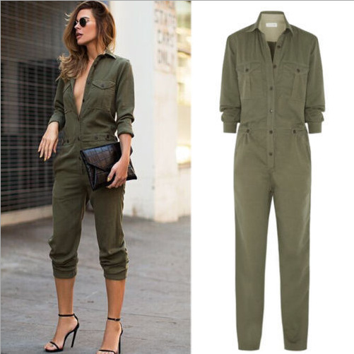 Women Long Top Pants Set Two Piece Outfits Jumpsuit Playsuit Casual Clothes army green