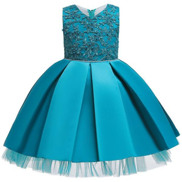 Cute Baby Kids Girl Princess Tulle Tutu Dress Wedding Birthday Party Bow Dresses lake blue