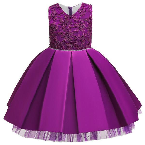 Cute Baby Kids Girl Princess Tulle Tutu Dress Wedding Birthday Party Bow Dresses purple