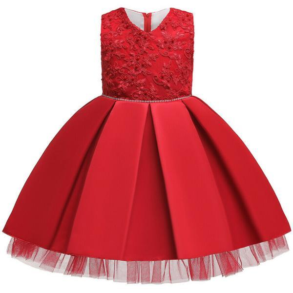 Cute Baby Kids Girl Princess Tulle Tutu Dress Wedding Birthday Party Bow Dresses red