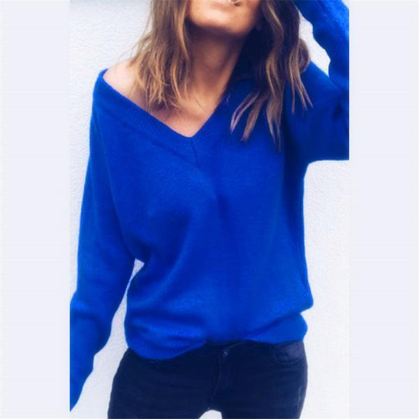 Women V-Neck Blouse Long Sleeve Loose Knitted Sweater Jumper Pullover Fall Tops