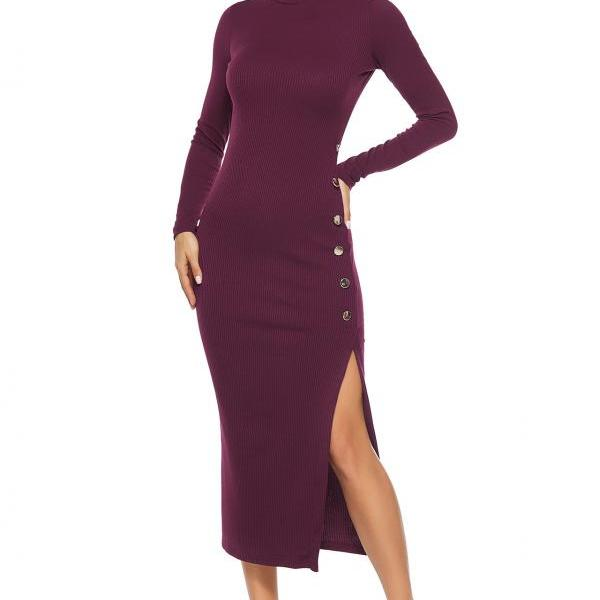 2019 autumn winter women dress solid color side slit sexy sweater skirt long sleeve stretch Slim knit dress
