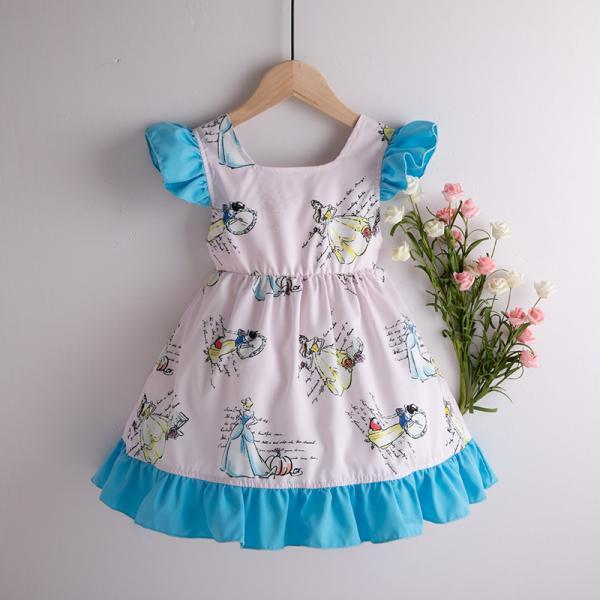 2020 Kids Girl Flying sleeve Dress Summer Girl snow White Print Dress Cotton Princess Dress