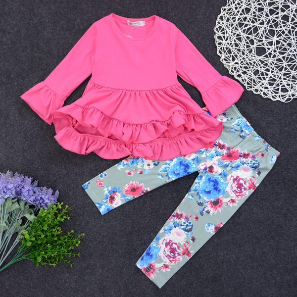 Spring autumn sets irregular skirt top floral floral pants two-piece girl girl suit