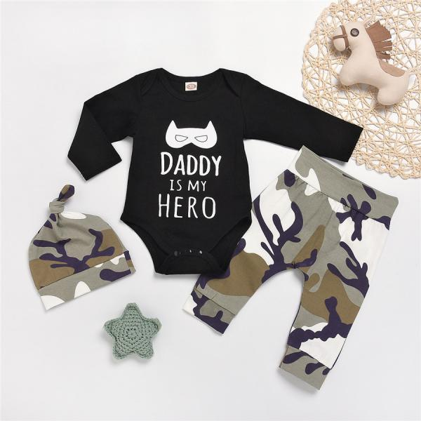 3PCS Set Newborn Baby Boy Romper Tops Camo Pants Hat Outfits Clothes Jumpsuit