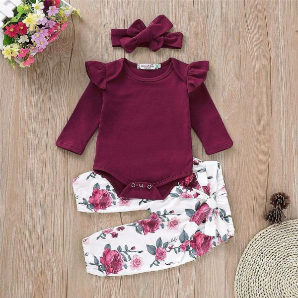 Baby Girls Romper Tops Jumpsuit Tutu Pants Headband Newborn Outfits Clothes Set