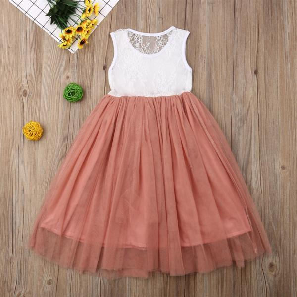 Lace Flower Girl Dress Tulle Kids Baby Wedding Party Bridesmaid Gown Sundress