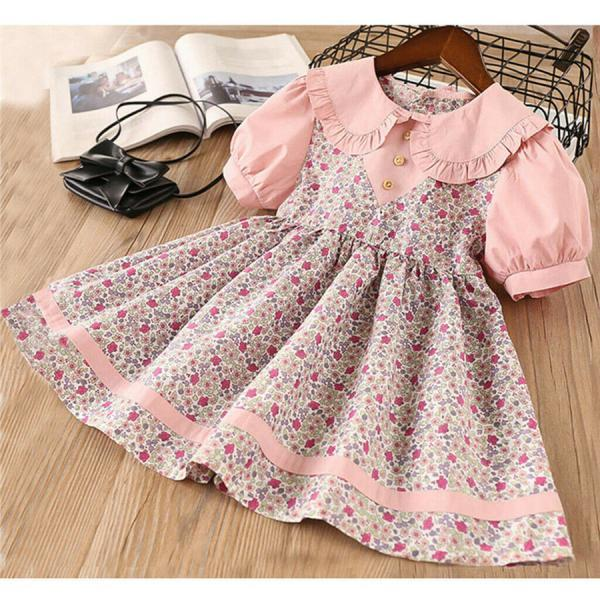 Toddler Baby Kid Girl Floral Dress Peter Pan Collar Summer Princess Boho Clothes