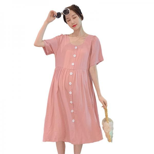 2020 maternity dress summer new hot mom foreign style fashion solid loose midi dress