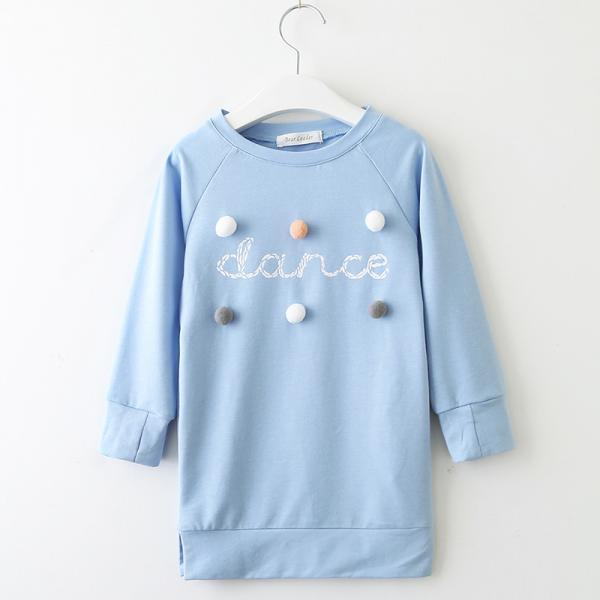 2020 new spring girls dress long-sleeved letter ball ball sweater dress girls autumn sweater