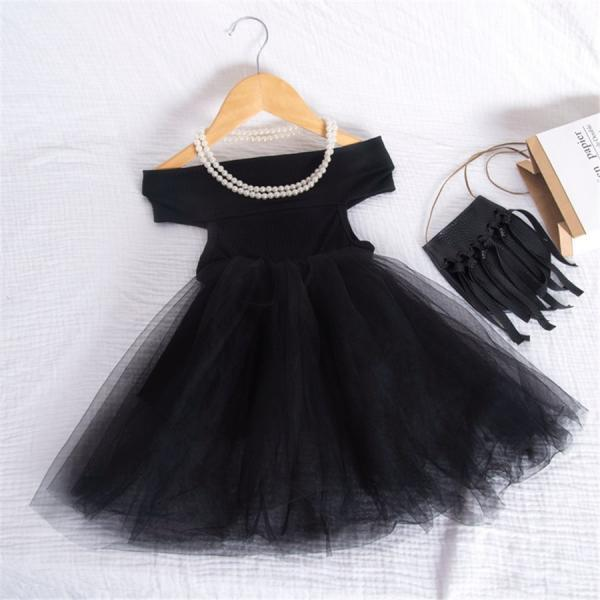 Summer children's skirt word shoulder girl mesh dress solid color off-the-shoulder summer breathable dress