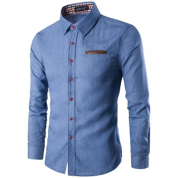 New Men Casual Fashion Wash Denim Shirts Long Sleeves Smart Casual Slim Fit Jeans Clothes