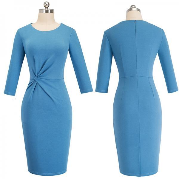 Elegant women Work Pencil Office Dress Fancy Autumn Bodycon Formal Lady Sheath Dress