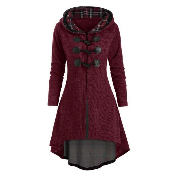 Women Coat Long Sleeve Plaid Button Lace Tunic 2020 Hooded Casual Ladies Tops